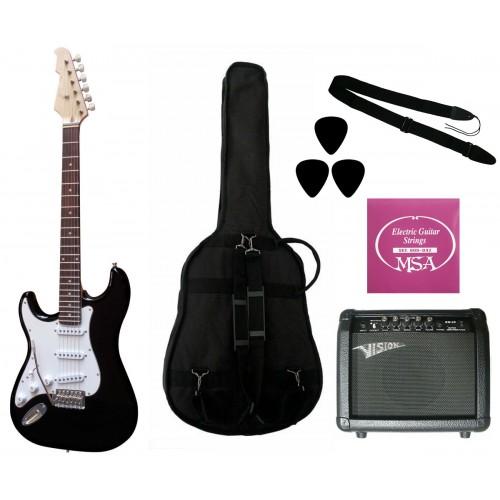 Elektrinė gitara ST5 BK kairiarankiui su komplektu GW25