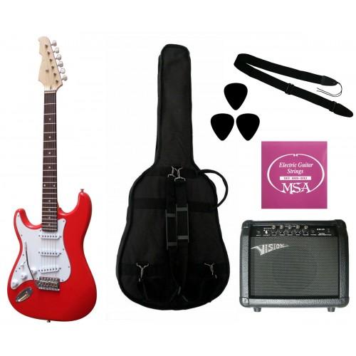 Elektrinė gitara ST5 RD kairiarankiui su komplektu GW25