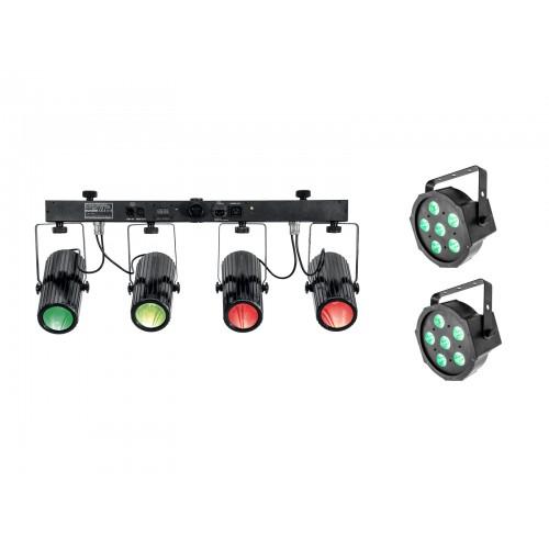 EUROLITE 2xLED SLS-6 TCL Spot ir LED QDF-Bar RGBAW prožektoriai