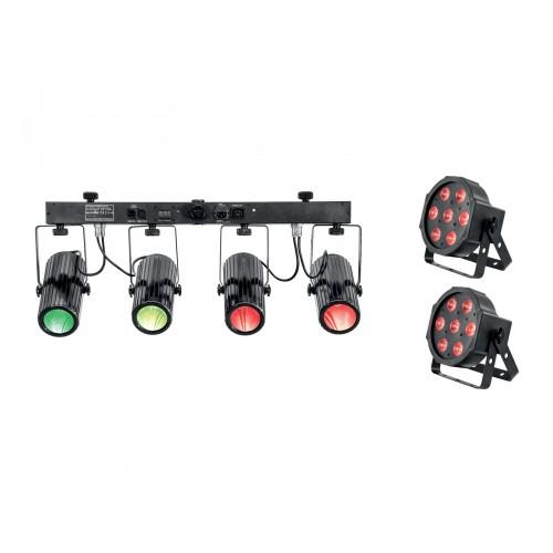 EUROLITE 2xLED SLS-7 HCL Floor ir LED QDF-Bar RGBAW prožektoriai